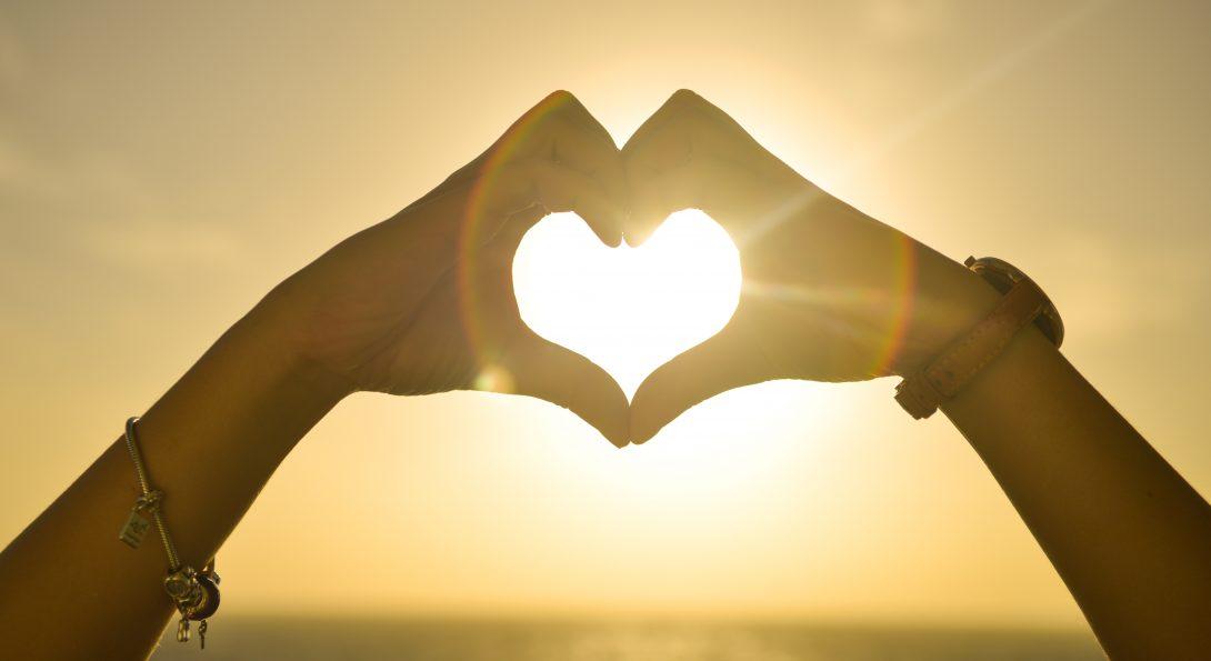 Hand shaped as a heart